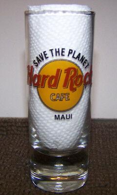 "Hard Rock Cafe Tall  4 1/8"" Shot Glass Save The Planet Maui Hawaii Black Letters"