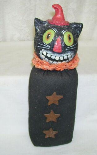 Vintage Weighted Bottom Primitive Black Cat Halloween Figure