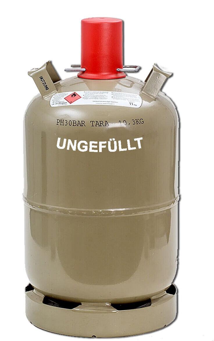 Gasflasche 11kg grau leer Propangas Flasche Grill-Gas Boot Camping Heizung