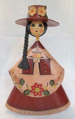 - Vintage Paper Mache Folk Art Girl Holding Flowers 13
