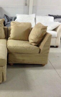 Pottery Barn Charleston Slipcovered Oat Suede sectional sofa CORNER down Charleston Leather Sectional Sofa