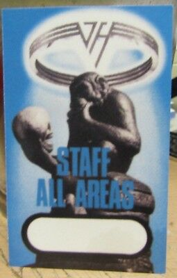 "VAN HALEN LAMINATED BACKSTAGE PASS ""STAFF ALL AREAS"" ORIGINAL & AUTHENTIC"