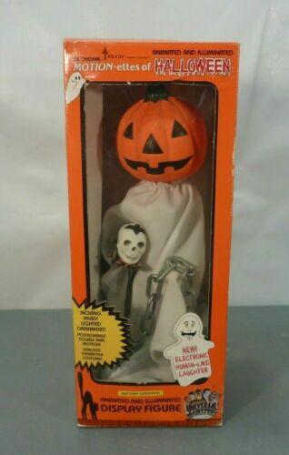 """Vtg 17"""" Telco Motionette Halloween Animated Pumpkin Ghost w/ Skull Light Sound"""