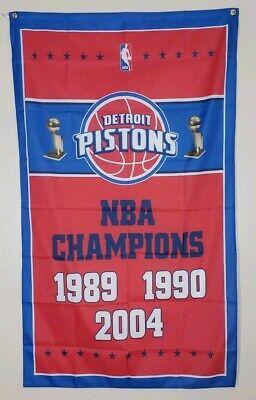 Detroit Pistons Championship Banner 3x5 Ft Flag Man Cave Decor NBA Basketball  5 Decor Banner