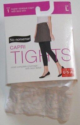 No Nonsense Super Opaque Capri Tights with Lace Trim - White - Choose Size!