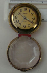 Linden Travel Alarm Clock Wind-Up Round, Red Faux Case, WORKS!