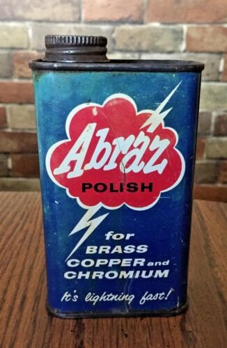 VINTAGE ABRAZ METAL POLISH CAN ADVERTISING TIN GREEN SALES CO NEW YORK, N.Y. USA