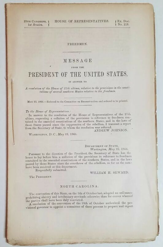 FREEDMEN 1866 Message President Johnson African American History Reconstruction
