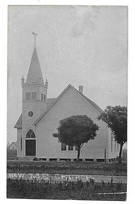 c. 1910 Real Photo Postcard RPPC ~ New Methodist Episcopal Church, Kansas