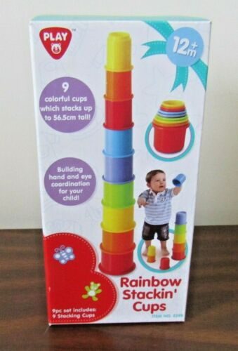 Rainbow Stacking Nesting Plastic Toy Cups Playgo 12m+ Set of 9 pieces