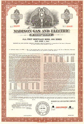 Madison Gas And Electric Company   Specimen Wisconsin 1991 Bond Certificate