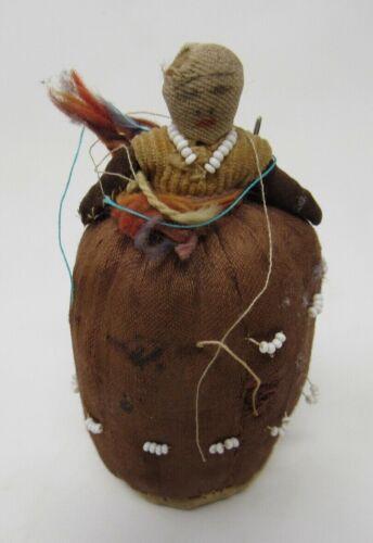 Rare Black Americana Doll Pin Cushion Beaded Necklace Dress Folk Art Handmade