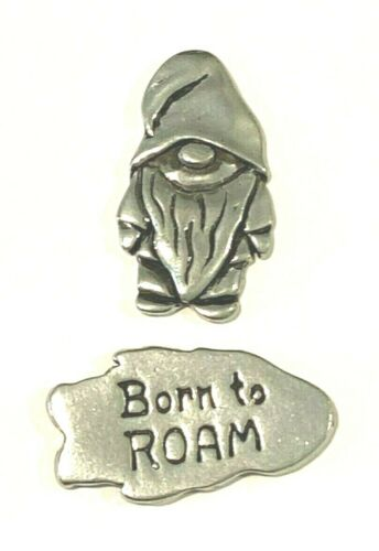 """Basic Spirit Handcrafted in Canada Pewter Pocket Token Charm GNOME """"BORN to ROAM"""