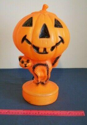 Vintage Halloween Pumpkin Blow Mold Plastic Jack O Lantern Lighted