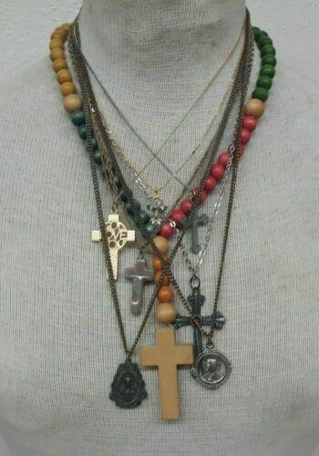 Lot of 8 Vintage RELIGIOUS Necklaces Lot CRUCIFIX, Angel, Pewter, Saints NICE