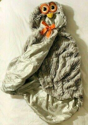 infant owl swaddling halloween costume gray soft fuzzy orange yellow eyes ](Owl Infant Halloween Costume)