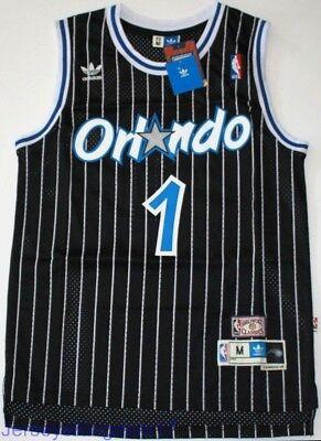 Throwback Hardwood Jersey TRACY McGRADY 1 Orlando Magic Black Striped Mens NWT