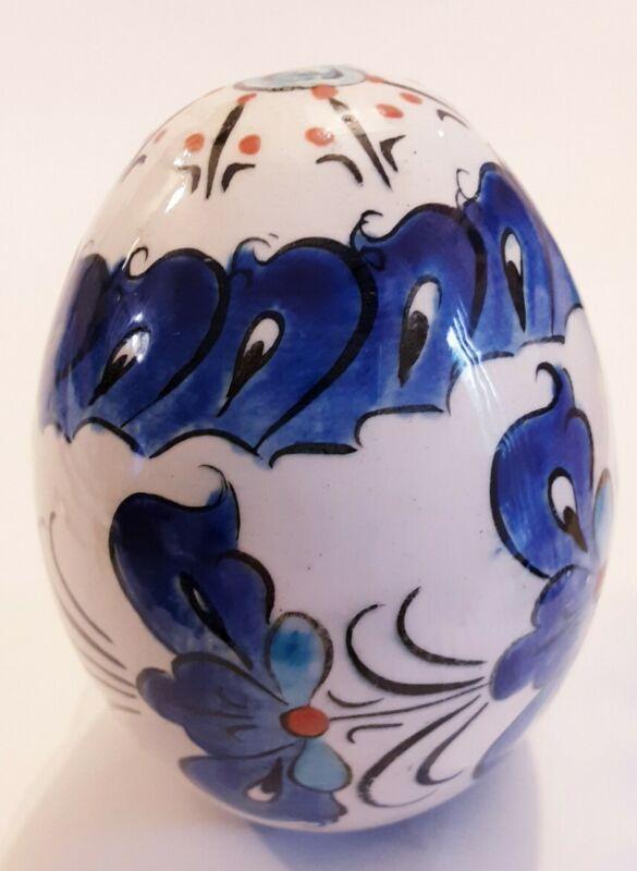 """Vintage Cobalt Blue Decorative Ceramic porcelain Easter Egg Hand Painted 3"""" Folk"""