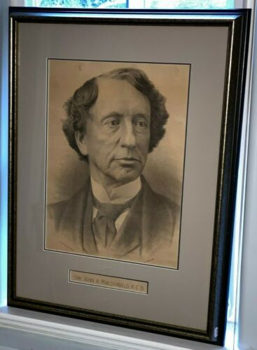 ANTIQUE 1872 SIR JOHN A. MACDONALD FRAMED LITHOGRAPH PHOTOGRAPH W.J. TOPLEY