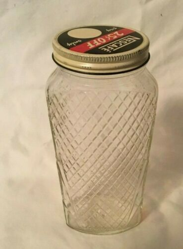 Vintage NESCAFE COFFEE Jar with Tin Lid Embossed Diamond Jar