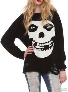 iron fist misfits sweater torn skull pullover black extra large new - Misfits Christmas Sweater