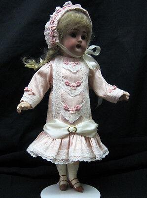 """Silk Dress & Bonnet for 9"""" Antique Doll Mignonette Bru Kestner Jumeau French"""