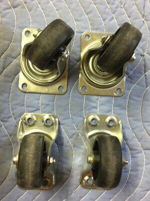 Bassick Caster Wheels 2ea 361 Swivel 2ea 338 Fixed Industrial Cart 2-sets