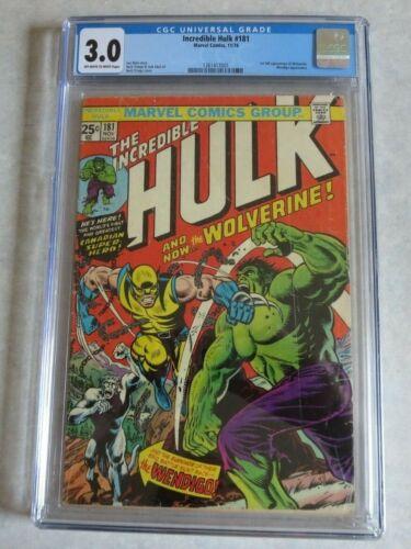 Incredible Hulk 181 CGC 3.0 Great color! Very Cool!