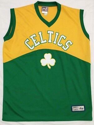 475913047 Celtics Green   Yellow Stitched Basketball Jersey Majestic Hardwood  Classics XL