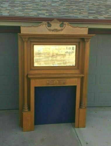 Antique Fireplace mantel & surround Carved wood Maple Victorian Columns & mirror