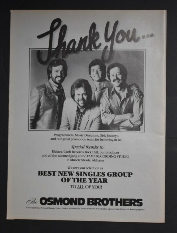 The Osmond Brothers 1982 11x14 Advertsing Ad Best New Singles Group