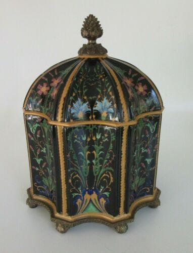Wong Lee Black Porcelain & Floral Decorative Octagon Shape Lidded Jar w/ Bronze