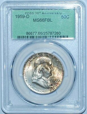 Click now to see the BUY IT NOW Price! 1959 D PCGS MS66FBL FULL BELL LINES FRANKLIN HALF DOLLAR