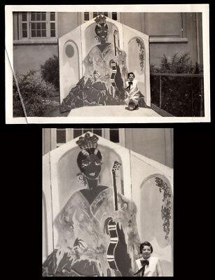 GIANT FREAKY FLAMENCO COSTUME WOMAN & GUITAR MURAL! 1930s VINTAGE PHOTO!