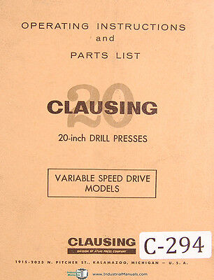Clausing 20 Drill Press Models 2251 Thru 2288 Operation And Parts Manual 1968