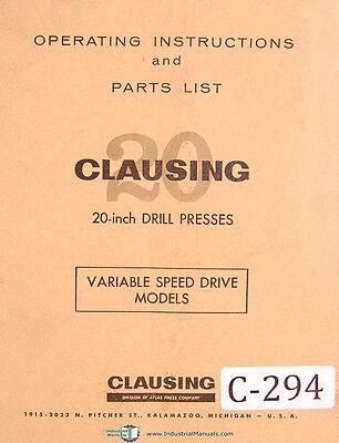 Clausing 20 Drill Press Models 2251 Thru 2288 Operation And Parts Manual 1968