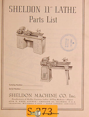 Sheldon 11 Lathe Parts Manual Year 1956