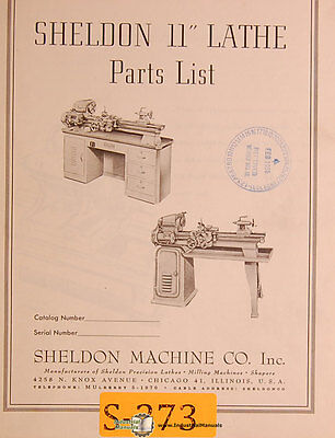 "Sheldon 11"", Lathe Parts Manual Year (1956)"