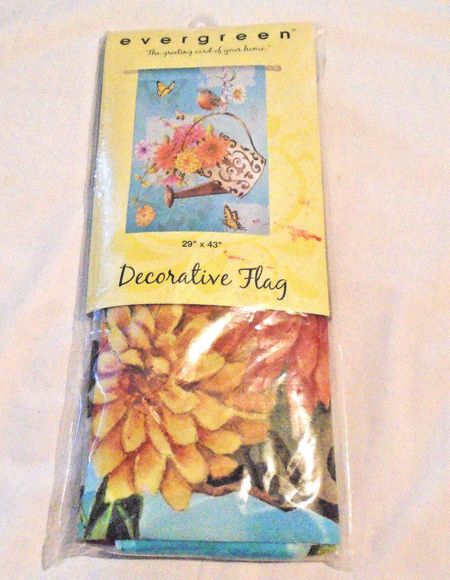 Evergreen Decorative Flag, Watering Can with Flowers and Rob