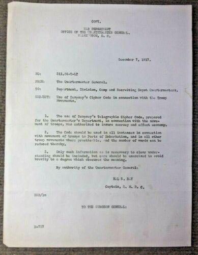 Antique 1917 WW I US Army Authorization To Use Dempsey