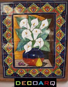 Mexican-Talavera-Tile-Mural-callalily-FLOWER-VASE-design-handmade-30-pcs-set