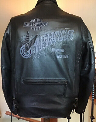HARLEY DAVIDSON Men's 2XL Vented Heavyweight Leather Jacket in Great Condition