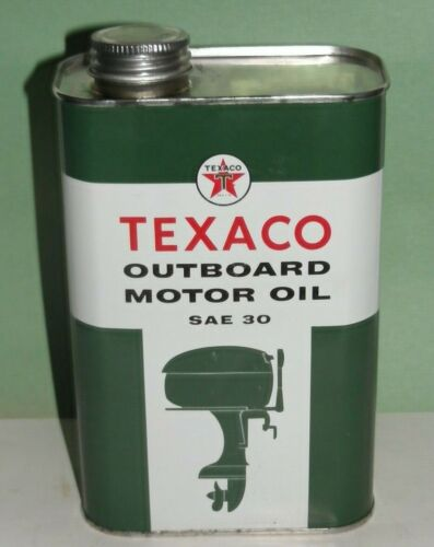 VTG TEXACO MOTOR OIL CAN OUTBOARD Qt. AUTHENTIC VINTAGE 1957 Empty MINTY!