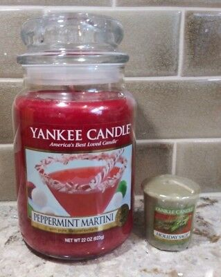 Yankee Candle  22 oz PEPPERMINT MARTINI FAST SHIP FREE HOLIDAY VOTIVE](Peppermint Martini)