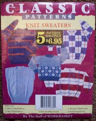 Workbasket 5 basic sweaters knitting  pattern men women children  Basic Sweater Knitting Pattern