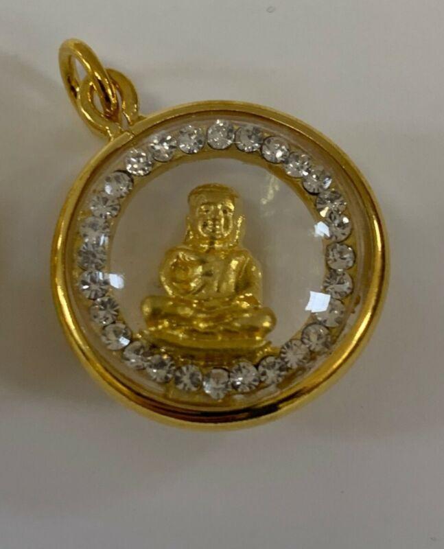 THAI AMULET SITTING BUDDHA, GOLD, DIAMONDS - BRAND NEW