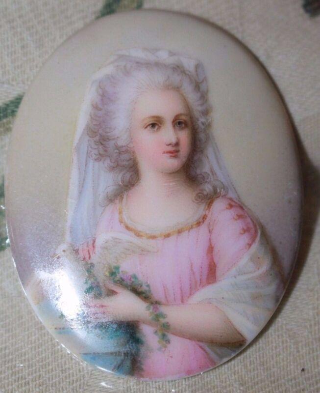 Porcelain miniature plaque of European Empress with white dove & veil