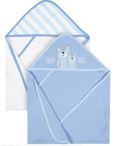 Gerber Baby Boys 2 Pack Organic Terry Hooded Towels NEW Adorable Teddy Bear
