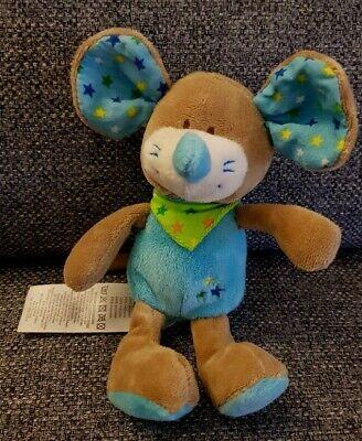 Maus von Ergee Kik Kuscheltier blau Ohren Sterne unbekuschelt neuwertig