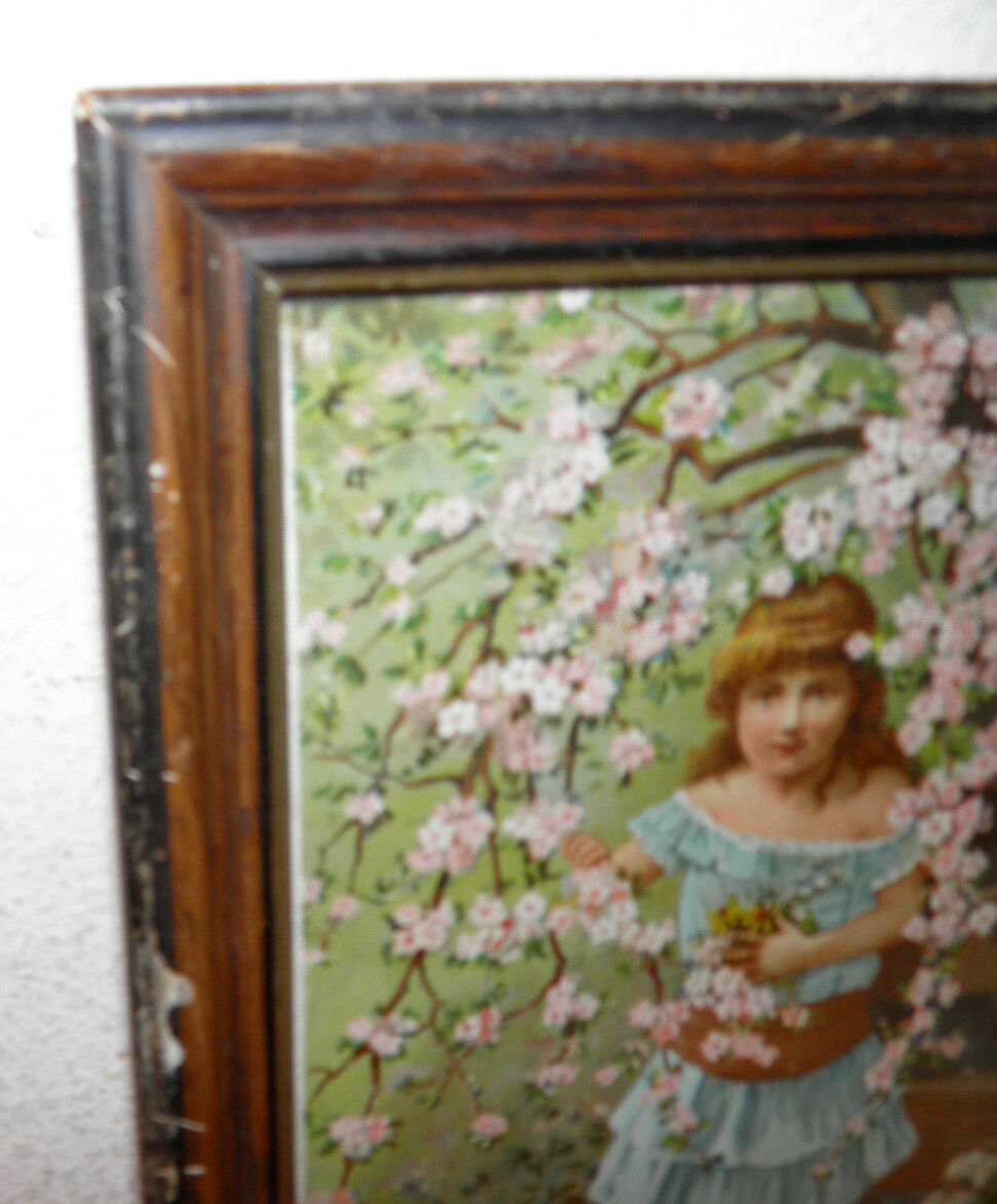 Antique Print Early 1900 Chromiolitho Girl Original Frame 8.75x12 Collector Must - $48.84
